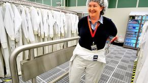 Fab employees wear special suits, nicknamed bunny suits, which are designed to keep contaminants such as lint and hair off the wafers during chip manufacturing.