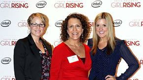 Intel community engagement manager Renee Levin (center) at the Arizona premiere of Girl Rising, an Intel-funded film about the struggles girls in the developing world face to get an education.