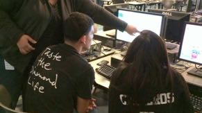 Nona Vidaña volunteers at the Hour of Code program as part of Computer Science Education Week. Nona is inspired to share her skills to help high-school students gain valuable coding skills for 21st century jobs.