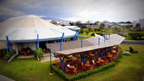 Vista de la terraza de la cafetería del CR2