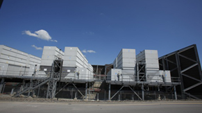 Cooling towers produce steam from evaporative cooling