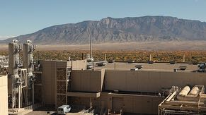 Rooftop view from Fab 11X overlooking west side of CUB, Rio Grande Valley and Sandia Mountains.