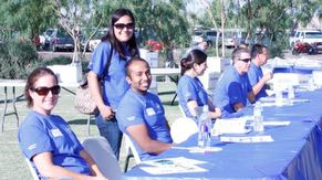 Intel volunteers ready to answer questions about a career in technology at the Hermanas Conference.