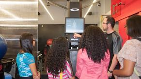 The CompuGirls field trip to Intel includes a tour of the state-of-the-art fitness center, which uses the latest Intel-powered technology to enhance workouts.