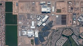 An aerial view of the Ocotillo campus, with Dobson Road curving along the east side. To the west is the Gila River Indian Community, and to the south is land that Intel leases to local farmers.