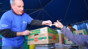 Intel employees volunteer their time at the Oregon Food Bank.
