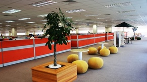 Umbrella area in front of cubicles